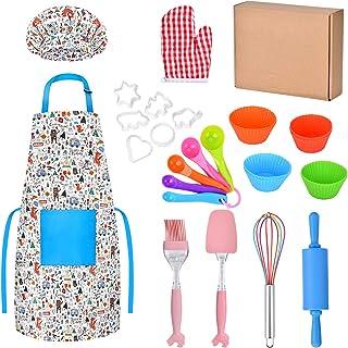 Queta Real Kids Kit de pâtisserie 30 pièces pour enfant avec toque et tablier, gant de four, emporte-pièce, véritable outi...