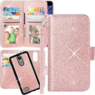LG Aristo Case, LG Phoenix 3 Case, LG K8 2017 Case, LG Fortune Case, LG Risio Case, LG Rebel 2 LTE Case, Harryshell Luxury 12 Card Slot Detachable Magnetic Wallet Case Cover Wrist Strap (Glitter Pink)