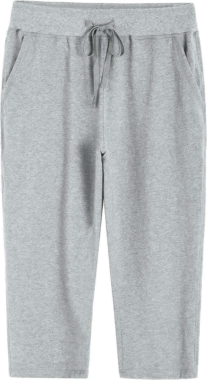 Weintee Women's Knit Sweatpants Capri Pants with Pockets