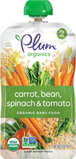Plum Organics Stage 2 Organic Baby Food, Carrots, Beans, Spinach & Tomato, 3.5 Ounce Pouch (Pack of 12)