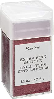 Darice Garnet Extra Fine Glitter 1.5 Ounces Canister w/Pour or Shake Lid, Red, 0.09
