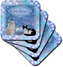 3dRose Kitty Cats with Easter Basket of Eggs On Musical Sheet Background, Blue - Ceramic Tile Coasters, Set of 4 (CST_174047_3)