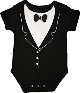 Tuxedo Fancy Dress Up Bodysuit - With Embroidery and 3D Bowtie, (0-3 months), Frenchie Mini Couture