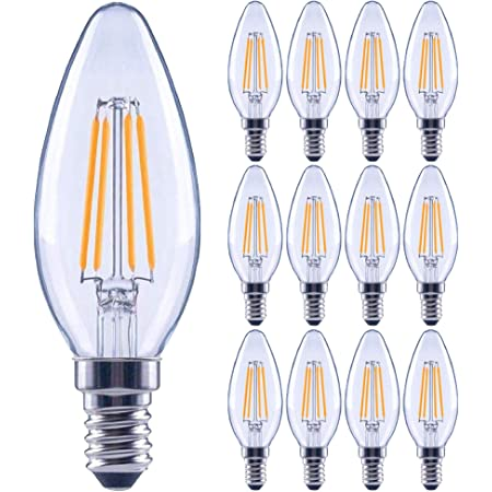 12 Pack Dimmable E12 Led Candelabra Bulbs 40watt Equivalent 2700k Warm White 450lumens 4w B11 Vintage Chandelier Light Bulbs Led Filament Clear Glass Candle Lamp For Ceiling Fan Home Decor