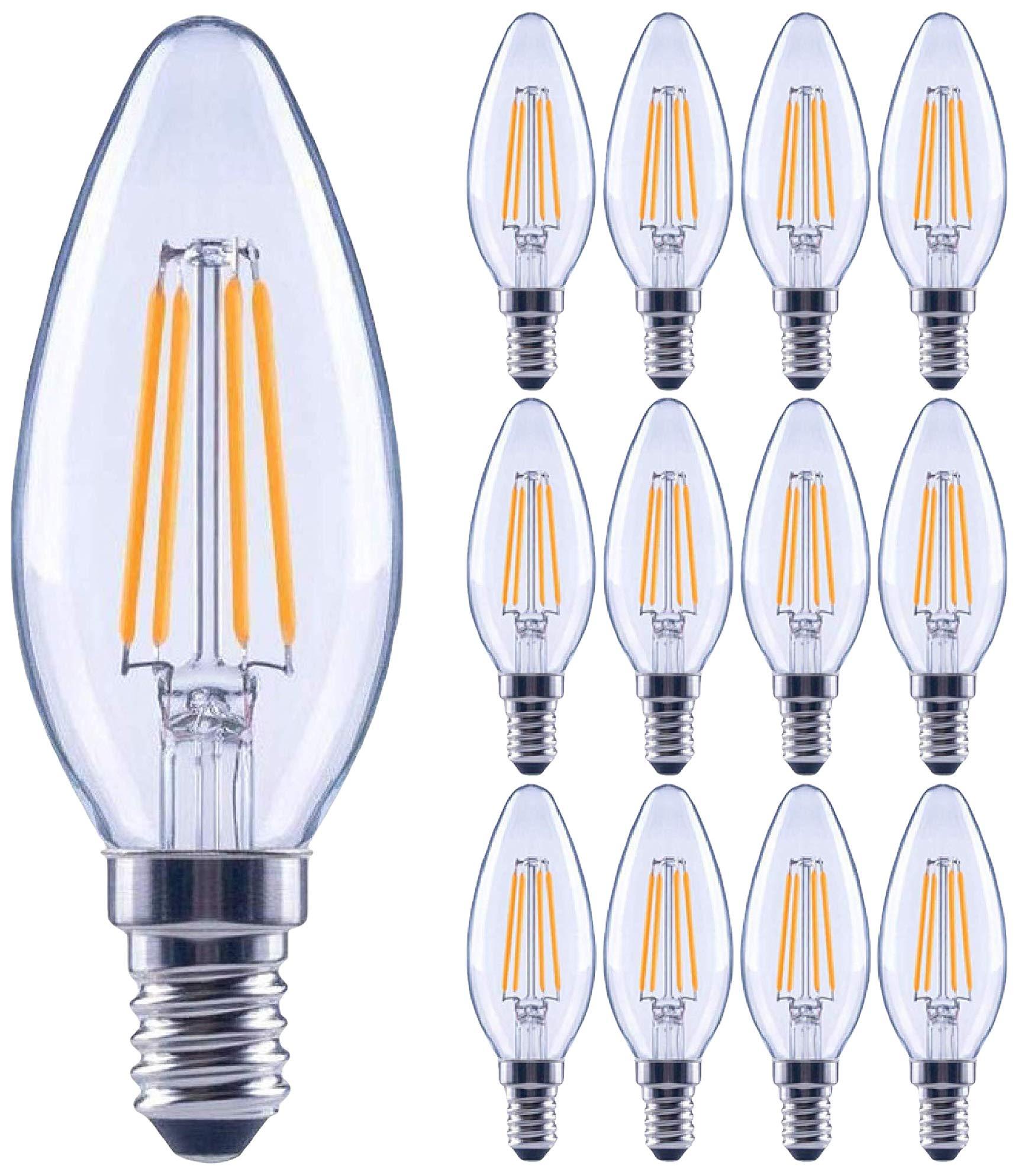 12 Pack 60 Watt Equivalent Led E12 Candelabra Base B11 Dimmable Clear Filament Vintage Style Light Bulb 2700k Warm White Decorative 60w Led Chandelier Ceiling Fan Bulbs