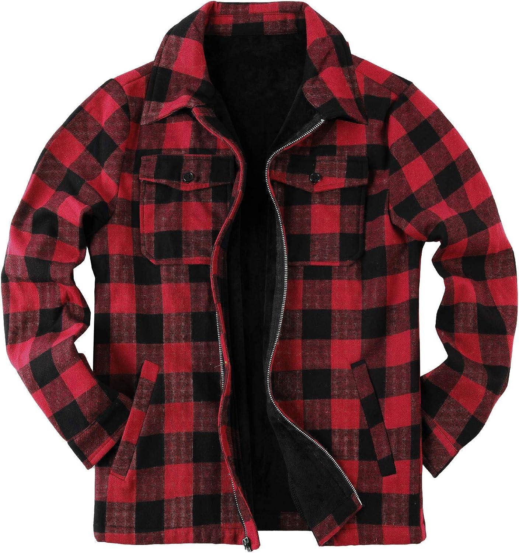 Mens Fleece Jacket Sherpa Lined Zip Up Buffalo Plaid Flannel Coat Casual Long Sleeve Warm Fall Winter Outwear