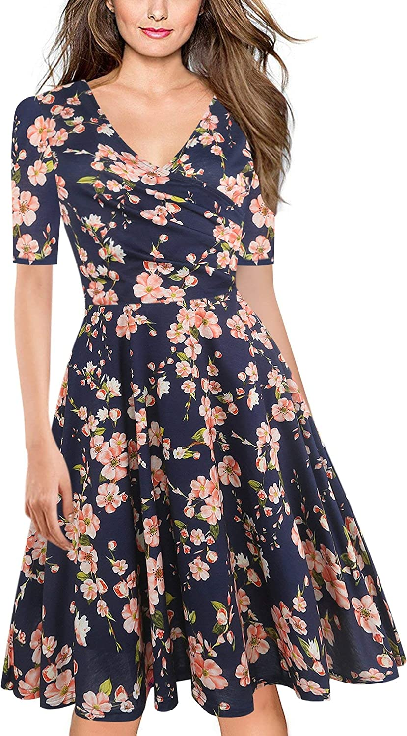 Brave pinkmary Women Floral Print Ruffle V Neck Dress Short Sleeve Knee Length Dresses Ladies Casual ALine Dress Vestidos