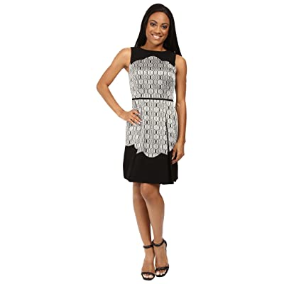 Tahari by ASL Petite Metallic Jacquard Fit and Flare with Scallop Detail (Black/Gold/Silver) Women