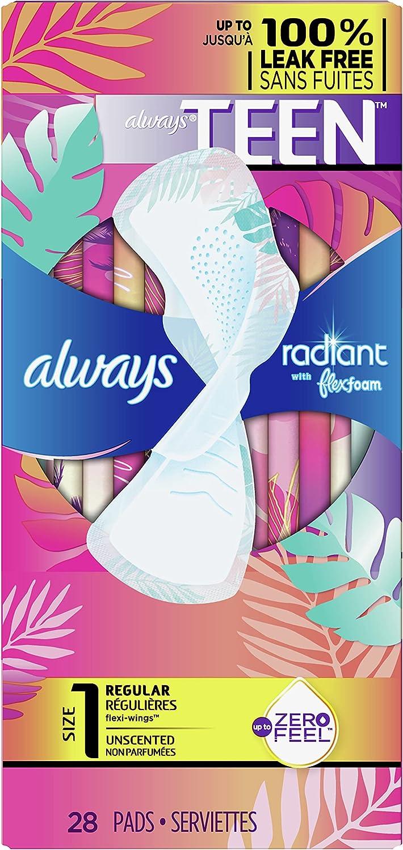 Always Radiant Ranking TOP1 FlexFoam Teen Pads Max 67% OFF Absorbency Leak 100% Regular
