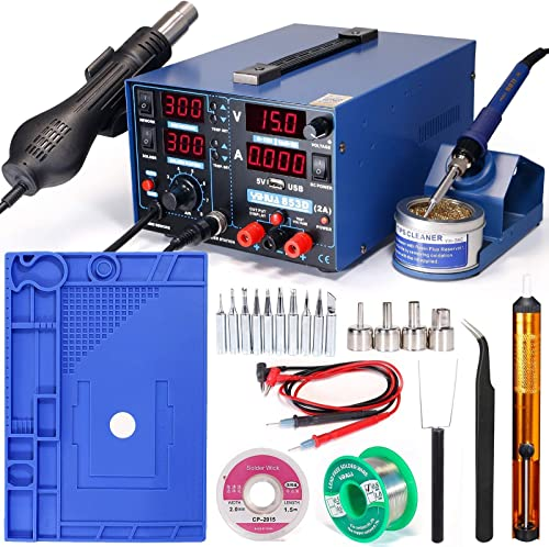 """discount YIHUA 853D wholesale 2A USB Professional Soldering Rework and Power Supply Station bundle with 17.32"""" x 12.20"""" M180 Electronic Repair Mat online with Iron Holder, Soldering Cleaning Kit, and Accessories (26 Items) online sale"""