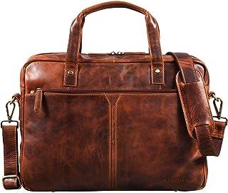 "STILORD Geralt"" Vintage Ledertasche Messenger Bag Aktentasche Umhängetasche Groß 15,6 Zoll Notebooktasche aufsteckbar, Farbe:Kara - Cognac"