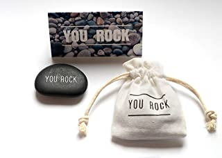 You Rock Engraved Rock - Personalized Rock with Natural Cotton Pouch – Engraved Stone with White Ink – Perfect Gifts,Thank...