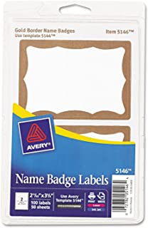 Avery 5146 Name Badge Labels, 2-11/32-Inch x3-3/8-Inch, 100/PK, Gold Border