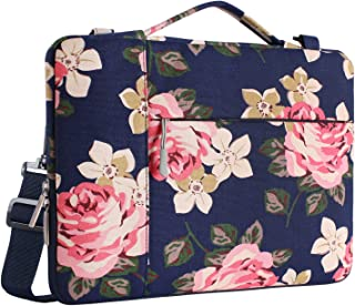 MOSISO Laptop Shoulder Bag Compatible 15-15.6 Inch MacBook Pro with Touch Bar A1990 & A1707 2018 2017 2016, MacBook Pro, Also Fit 14 Inch Ultrabook, Rose Multifunctional Canvas Sleeve, Dark Blue