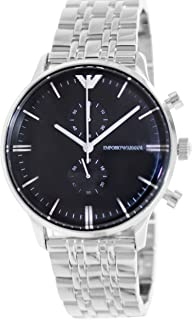 Emporio Armani Men Analog-Quartz Stainless Steel Silver with Black Dial AR0389