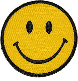 Funny Smiley Smile Happy Yellow Face DIY Applique Embroidered Sew Iron on Patch SM-005