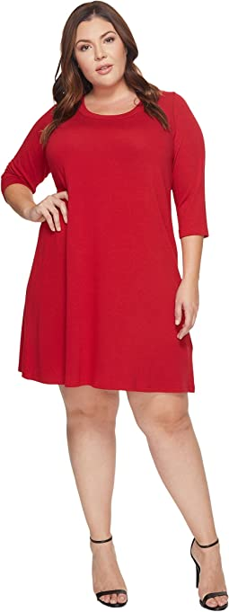 Karen Kane Plus - Plus Size 3/4 Sleeve A-Line Dress