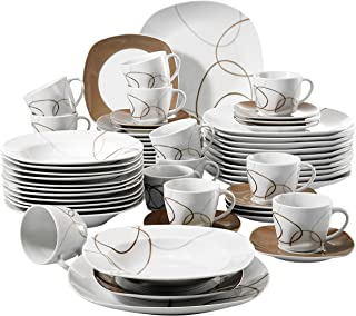 VEWEET Nikita 60pcs Service de Table Porcelaine 12pcs Assiette Plate, Assiette à Dessert, Assiette Creuse, Tasse avec Souc...