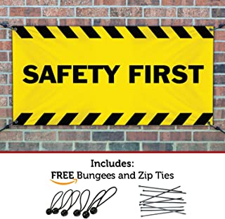 SAFETY FIRST Banner Sign 4ftX12ft Yellow w/ Black Strips