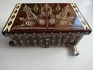 Gigante gran caja de puzzle rompecabezas de color marrón, caja mágica joyero tallado en madera con decoración de tesoro de...