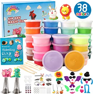 HOLICOLOR 38 Colors (0.7 Ounce Per Box) Air Dry Clay Kit Includes Extra 1 White and 1 Black Clay with Accessories Sets and 5 Tools, Magic Modeling Clay Kits, Kids Gifts Art Set for Boys Girls