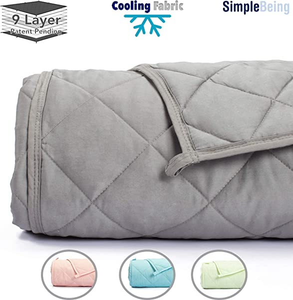 Simple Being Weighted Blanket 3 0 48x72 12lb Patent Pending 9 Layers Design Best Adult Heavy Calming Blanket Cooling Cotton Glass Beads High Degrees Of Breathability Stone Grey