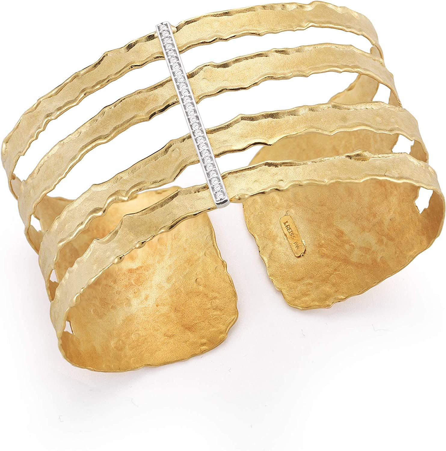 14K Yellow Gold 0.16ct TDW Diamond Accent Hammered-finish Cut-out Cuff Bracelet