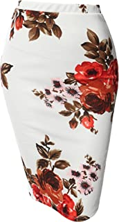 Women's Fitted Stretch Printed High Waist Midi Pencil Skirt