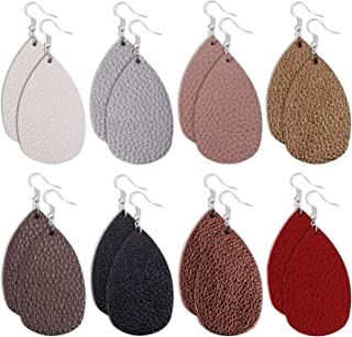 Onory 8 Pairs Leather Earrings Lightweight Faux Leather Leaf Earrings Teardrop Dangle Drop Earrings for Women Girls