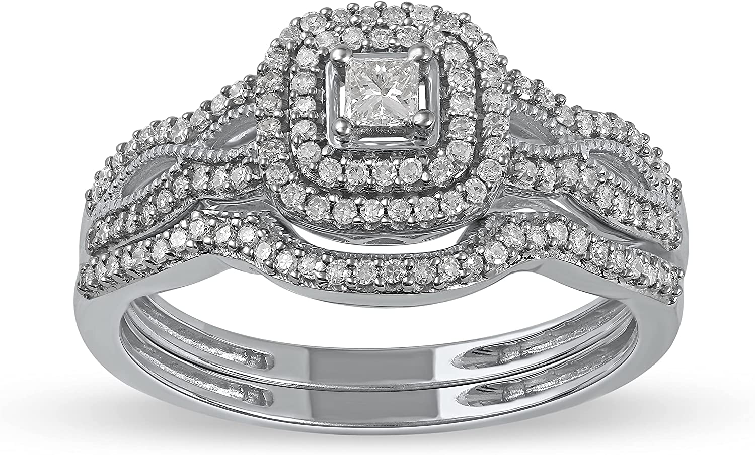 IGI Credence Certified 10k Gold 3 8Ct Se Ring Inventory cleanup selling sale Diamond TDW Halo Engagement