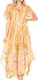 Ronny Lace Embroidered Cap Sleeve Tie Dye Wash Caftan Dress/Cover Up