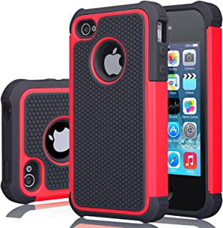 iPhone 4S Case, iPhone 4 Cover, Jeylly Shock Absorbing Hard Plastic Outer + Rubber Silicone Inner Scratch Defender Bumper Rugged Hard Case Cover for Apple iPhone 4/4S - Red