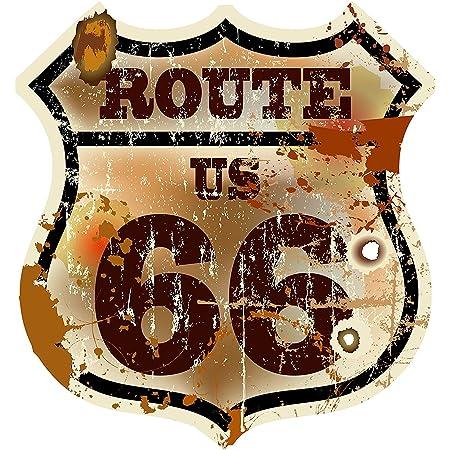 Etaia 14x15 Cm Auto Aufkleber Wappen Route 66 Usa Vintage Retro Oldschool Sticker Motorrad Caravan Lkw Truck Auto