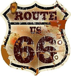 Etaia 14x15 cm   Auto Aufkleber Wappen Route 66 USA Vintage Retro Oldschool Sticker Motorrad Caravan LKW Truck