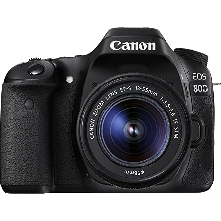 Canon EOS 80D Digital SLR Kit with EF-S 18-55mm f/3.5-5.6 Image Stabilization STM Lens (Black) (Renewed)