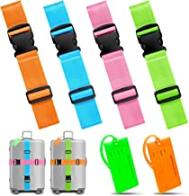 TUTUWEN 4 Packs Luggage Straps & 2 Packs Travel Flexible Travel Luggage Tags for Baggage Bags/Suitcases, Multi Color Pack