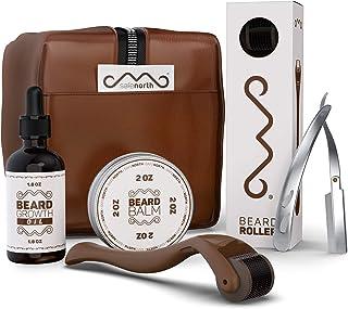 Safenorth Beard growth kit Derma roller for beard, beard growth oil and Beard Balm unscented, razor stainless steel - Acce...