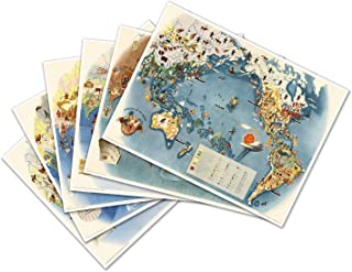 Antiguos Maps Set of SIX (6) Pageant of The Pacific MAP Prints by Miguel COVARRUBIAS Circa 1940 - Each Measures 18
