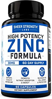 Sponsored Ad - Sheer High Potency Zinc 30mg Capsules - Organic Zinc Supplements with Selenium for Men & Women - Daily Vita...