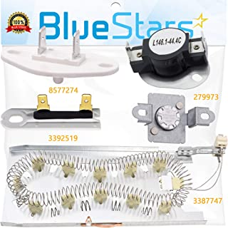 3387747 & 279973 & 3392519 & 8577274 Dryer Heating Element and Thermal Cut-off Fuse Kit Replacement by Blue Stars - Exact Fit For Whirlpool & Kenmore Dryers