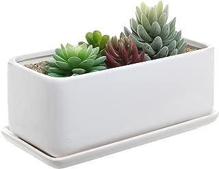 10 inch Rectangular Modern Minimalist White Ceramic Succulent Planter Pot/Window Box with Saucer