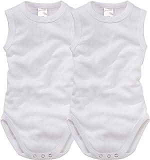 wellyou 2er Set Baby-Body Kinder-Body ohne Arm, klassisch weiß, ärmellos für Jungen und Mädchen, Feinripp 100% Baumwolle