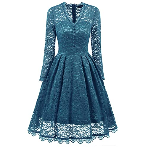 fa3606b8fb255 Women's Vintage V neckline Floral Lace mesh Cocktail Party Swing Dress