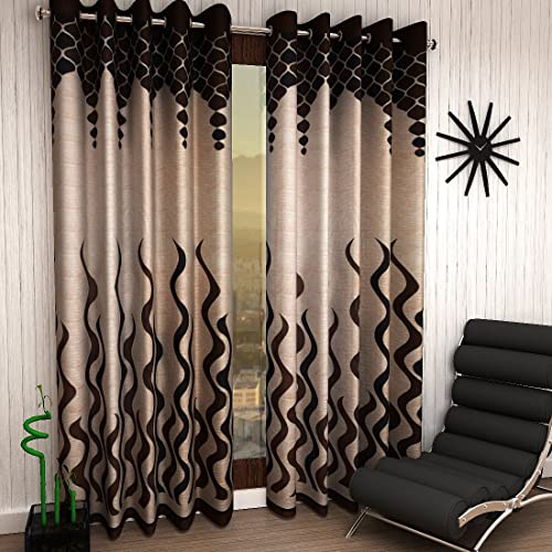 Home Sizzler Eyelet Polyester Door Curtains ,7ft (Set of 2)(Brown)
