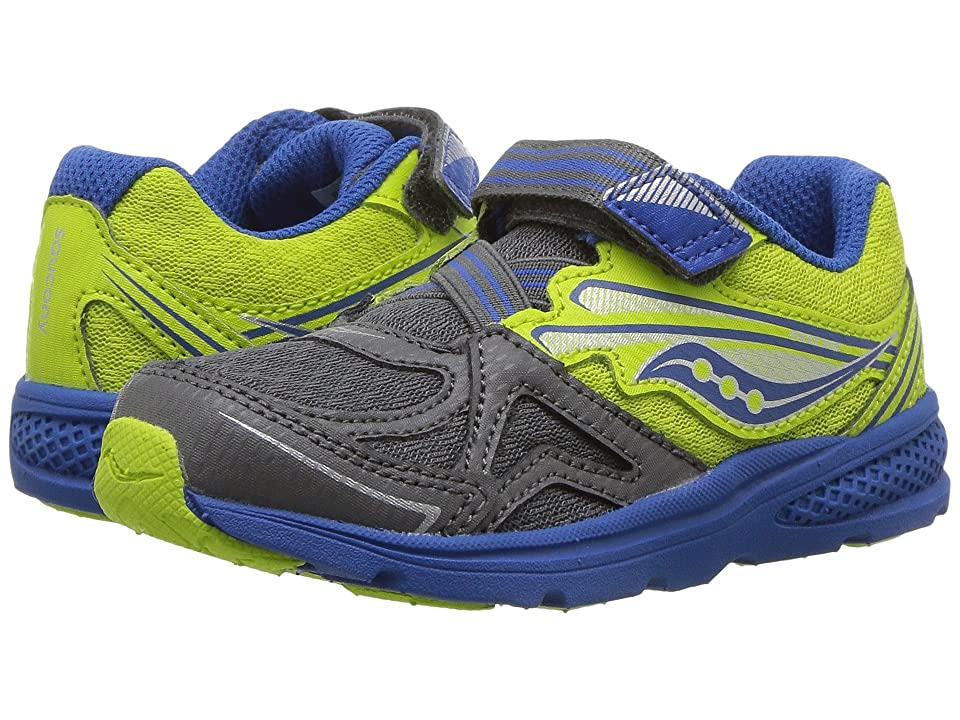Saucony Kids Ride 9 (Toddler/Little Kid) (Grey/Lime) Boys Shoes