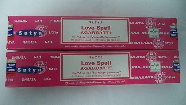 Satya Love Spell Incense Sticks Set Of 2 Packs Of 15 Grams Each