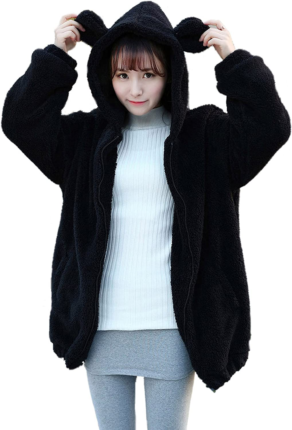 Women Fashion Bear Hoodies with Ears and Tail, Fluffy Double Vel