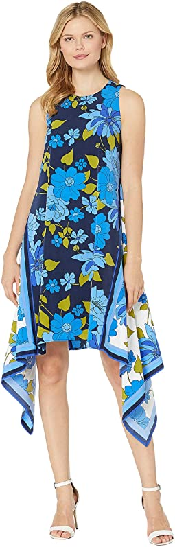 Crepe De Chine Printed Scarf Dress