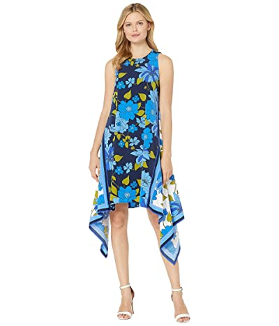 Maggy London Crepe De Chine Printed Scarf Dress (Navy/Aztec Blue) Women