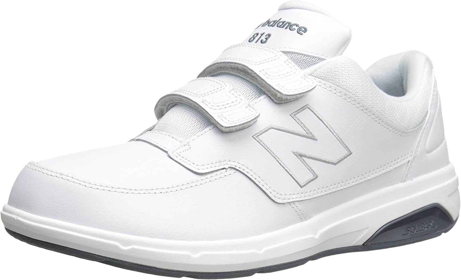 New Balance Men's MW813V1 Hook and Loop Walking shoes, White, 14 4E US